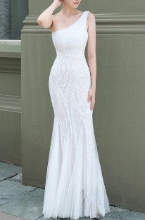 Summer Wedding White Sequins One Shoulder Mermaid Bridal Dress
