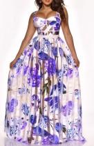 Vestido largo largo de cintura alta con correa ancha púrpura floral de verano