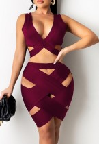 Summer Red Hollow Out Crop Top e Mini Skirt 2PC Bodycon Set