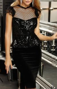 Summer Black Pacth Sequins Formal Peplum Midi Dress