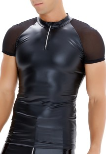 Summer Man schwarzes Leder Patch Shape Top
