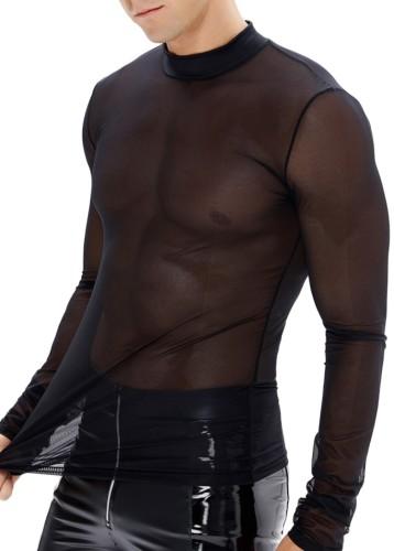 Top de lingerie Summer Man Black Mesh transparente