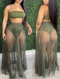 Summer Army Green Bandeau Top and Mesh Skirt 2PC Set
