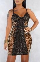 Mini abito con cinturino leopardato sexy in pizzo estivo