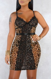 Summer Lace Pacth Sexy Leopard Strap Mini Dress