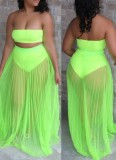 Summer Green Bandeau Top and Mesh Skirt 2PC Set