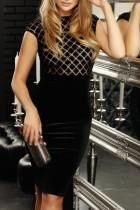 Sommer Black Pacth Pailletten Formal Midi Kleid