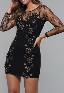 Yaz Siyah Örgü Yama Çiçekli Uzun Kollu Zarif Mini Elbise