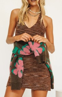 Summer Knitting Beach Halter Mini Dress