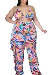 Summer Plus Size Colorful Bra and Ruffles Pants 2PC Matching Set