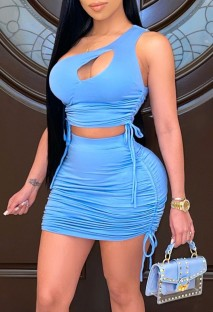 Summer Blue Ruched One Shoulder Crop Top and Mini Skirt Matching 2PC Set