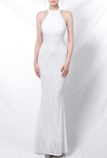 Summer Wedding White Sequins Scoop Neck Mermaid Bridal Dress