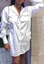 Camicetta lunga casual bianca primaverile con maniche lunghe