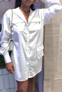 Spring White Casual Long Blouse with Full Sleeves