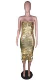 Vestido midi de tubo acanalado sexy metálico dorado de verano