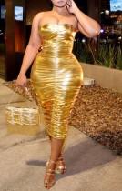 Sommer Golden Metallic Sexy Rüschen Tube Midi Kleid