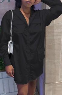 Tam Kollu Bahar Siyah Casual Uzun Bluz