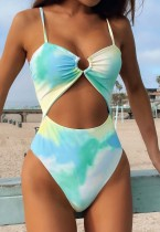 Summer One-Piece Tie Dye O-Ring Strap Swimwear