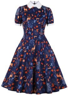 Yaz Vintage Baskı Kısa Kollu Patenci Elbisesi