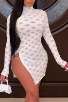 Abito da club sexy a maniche lunghe con zip laterale bianca primaverile