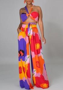 Soutien-gorge licou floral d'été et pantalon large taille haute 2PC assortis