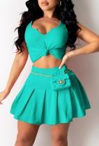 Летний зеленый укороченный топ и плиссированная юбка с высокой талией, подходящий комплект