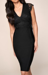 Summer Black Pacth Lace V-Neck Formal Midi Dress