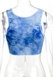 Top corto senza maniche con lacci e catene color blu estivo