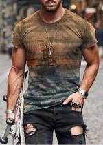 Camiseta de manga corta con cuello redondo y estampado de hombre de verano