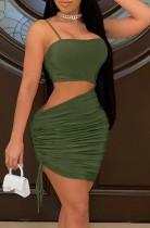 Mini vestido ajustado con tiras fruncidas y recortadas de verano verde
