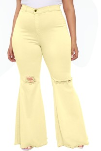 Summer Yellow High Waist Ripped Flare Jeans