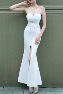 Summer Wedding White Strapless Front Slit Mermaid Bridal Dress