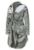 Spring Long Sleeve Knotted Elegant Grey Blouse Dress