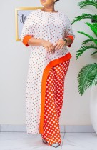 Summer Mother of Bride Polka Orange Irregular Long Top e pantaloni abbinati in due pezzi