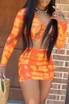 Оранжевый укороченный топ с длинным рукавом Summer Tie Dye и мини-юбка, комплект из двух одинаковых предметов