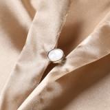 Spring Long Sleeve Knotted Elegant Khaki Blouse Dress