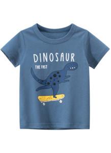 T-shirt O-Collo con stampa estiva da bambino