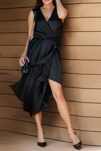Vestido largo elegante irregular envuelto sin mangas negro de verano