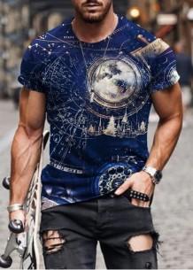 Summer Man Print Kurzarm T-Shirt mit O-Ausschnitt