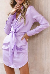 Spring Long Sleeve Knotted Elegant Purple Blouse Dress