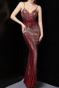 Vestido de noche de sirena con correa de lentejuelas rojas de verano
