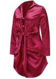 Robe chemisier rouge élégante nouée à manches longues de printemps