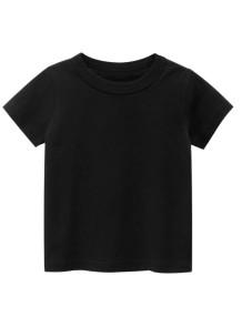 Çocuk Boy Yaz Siyah O-Boyun T Shirt