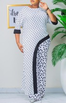 Summer Mother of Bride Polka White Top lungo irregolare e pantaloni abbinati in due pezzi