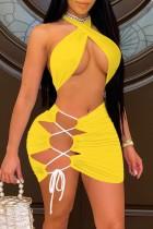 Summer Yellow Sexy Twist Crop Top und Schnür-Minirock passend zum 2PC-Set