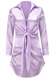 Spring Long Sleeve Knotted Elegant Purple Blouse Dress