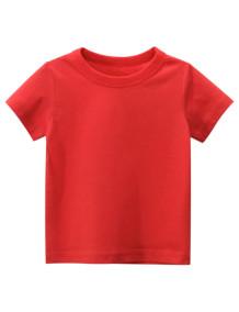 Maglietta O-Collo rossa estiva per bambino