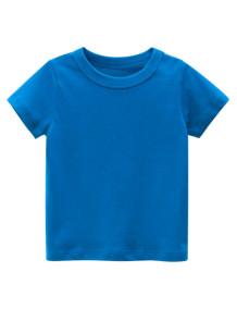 T-shirt O-Collo blu estiva per bambino