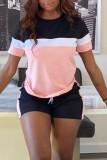 Sommer lässiges Blockfarbenhemd und kurzes zweiteiliges passendes Set