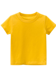 Maglietta O-Collo gialla estiva per bambino